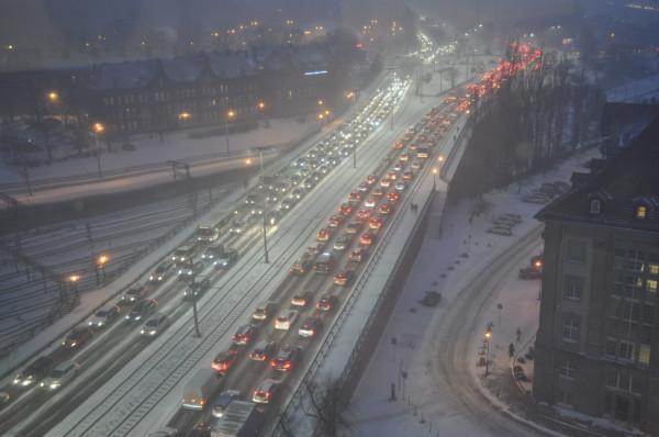Zakorkowany Gdańsk 16 stycznia 2018 roku.