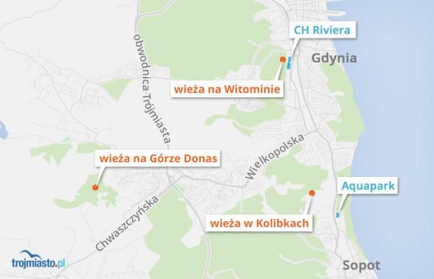 Istniejące wieże widokowe w Gdyni. Wieże na Górze Donas i w Kolibkach otwarte są od kwietnia do końca października (wstęp bezpłatny).