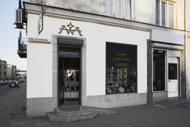 Pracownia i sklep jubilersko-zegarmistrzowski (ul. Miszewskiego 17) - propozycja przygotowana w ramach projektu Gdańska Szkoła Szyldu.
