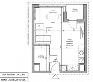 Rzut i wymiary projektowanego mieszkania.