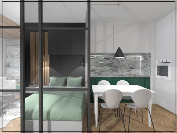 Koncepcja druga. W przylegającej do sypialni kuchni znalazł się niewielki, prostokątny stół.