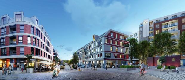 Garnizon. W centralnej części terenu rozpoczyna się realizacja najnowszego etapu. Na wizualizacji po lewej budynek istniejący, po prawej w budowie. Widok w stronę ul. Słowackiego.