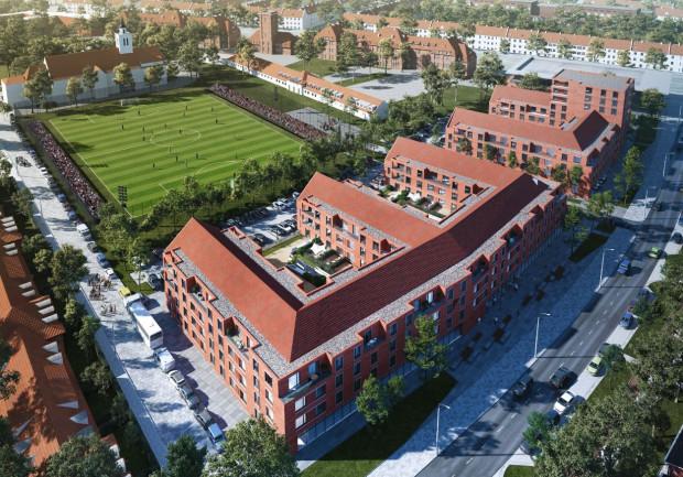 Wizualizacja propozycji zabudowy z 2017 roku. Jakakolwiek zabudowa będzie realizowana wzdłuż Kościuszki po wybudowaniu boiska, jej ostateczny wygląd ma zostać wyłoniony w konkursie architektonicznym.