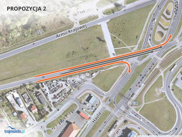 Druga propozycja zakłada wydłużenie pasów do skręcania w lewo i prawo w kierunku centrum.