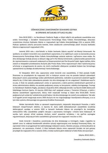 Oświadczenie zawodników Seahawks Gdynia