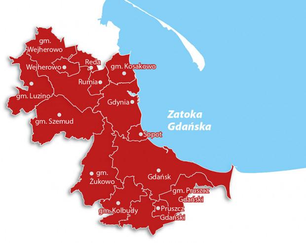 Gminy zrzeszone w MZKZG, w których będzie można korzystać z biletu za 150 zł.