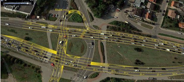 Wstępna koncepcja ruchu na rondzie de la Salle po wprowadzeniu buspasów.