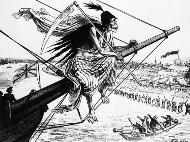 Cholera docierała do miast najczęściej na pokładzie statków, dlatego przedstawiano ją jako wpływającego do portu kościotrupa. Gdańsk zaatakowała w 1831 roku.