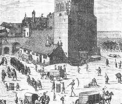 Gdańsk podczas epidemii dżumy w 1709 roku, która pozbawiła życia 25 tys. osób. Rycina Samuela Donneta.