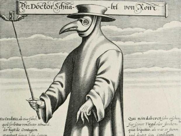 Lekarz z charakterystyczną ptasią maską z czasów epidemii dżumy w Europie, rycina Paula Fürsta z 1656 roku.