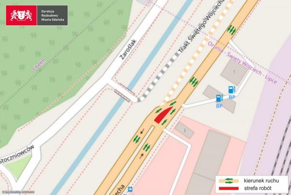 W poniedziałek, 2 marca, o godz. 6 rano do jednego pasa zostanie zawężony ok. 50-metrowy odcinek Traktu św. Wojciecha przy stacji paliw.