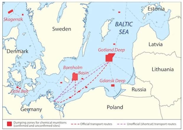 To oficjalne miejsca, w których zatopiono broń chemiczną w Bałtyku. Wiemy już na pewno, że jest też w innych obszarach, ale gdzie i ile dokładnie - tego raczej nigdy nie ustalimy.