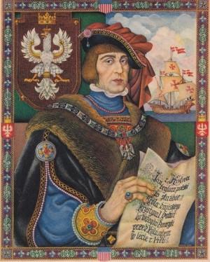 Współczesny wizerunek Jana z Kolna, przedstawiający go jako odkrywcę Ameryki.