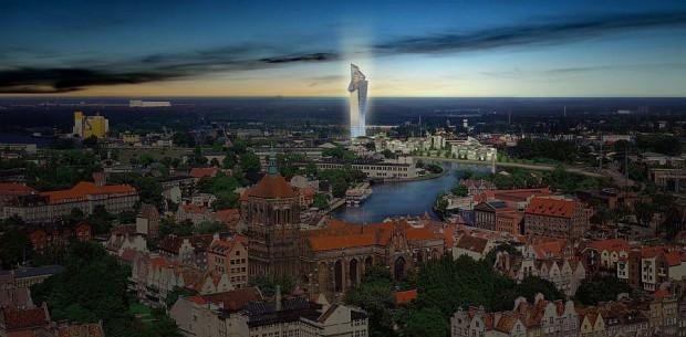 Niezrealizowana nigdy wizja budowy wieżowca na Polskim Halu w Gdańsku autorstwa Daniela Libeskinda.