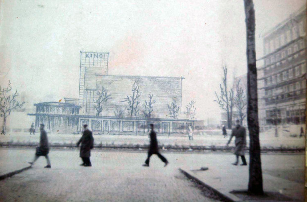 Koncepcja architektoniczna kina na obecnym skwerze Walentynowicz.