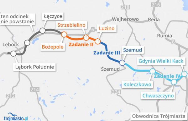 Budowa Trasy Kaszubskiej podzielona jest na cztery zadania.