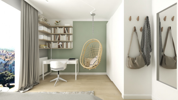 Wiszący fotel jak najbardziej zmieści się w pokoju, został on stylistycznie skomponowany z innymi elementami wyposażenia pokoju.
