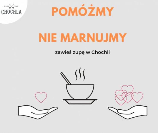 """Chochla też pomaga szpitalom akcją """"zawieszona zupa"""". Każdy klient może zamówić zupę, która trafi do personelu medycznego."""