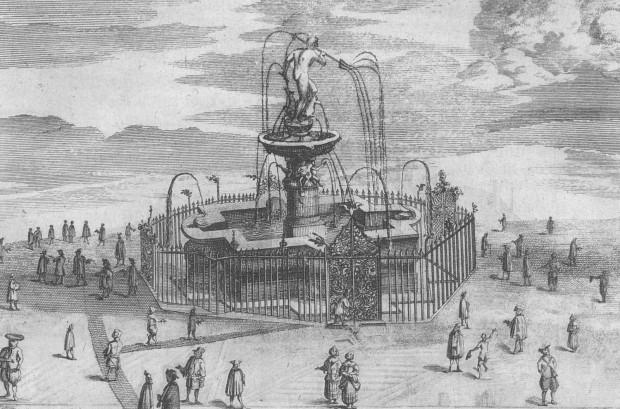 Rycina Petera Willera przedstawiająca fontannę Neptuna, Amsterdam 1687 (źródło: Polona.pl)