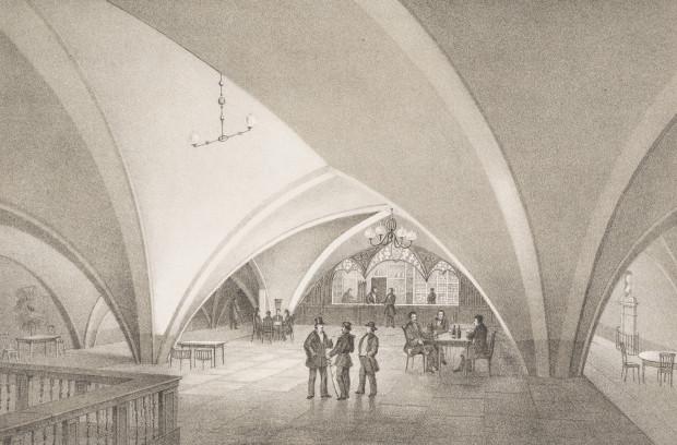 Winiarnia w piwnicach Dworu Artusa w połowie XIX wieku Ze zbiorów Muzeum Gdańska.