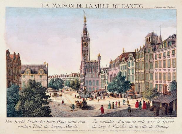 Długi Targ i Ratusz Głównego Miasta na grafice Balthasara Friedricha Leizela, około 1780.