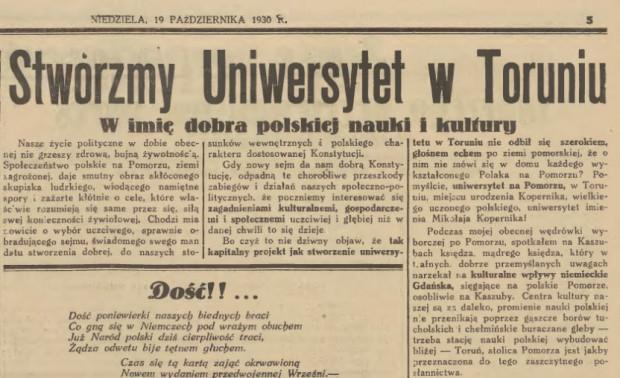 """Apel o utworzenie uniwersytetu w Toruniu opublikowany na łamach """"Gazety Gdańskiej"""" 19 października 1930 r."""