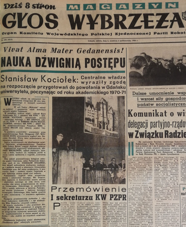 """Artykuł z """"Głosu Wybrzeża. Magazyn"""" z 4-5 października 1969 r., informującego o zgodzie władz centralnych na utworzenie nowego uniwersytetu."""