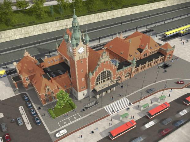 Tak będzie wyglądał zmodernizowany dworzec Gdańsk Główny PKP i jego otoczenie po zakończeniu remontu pod koniec 2021 r.