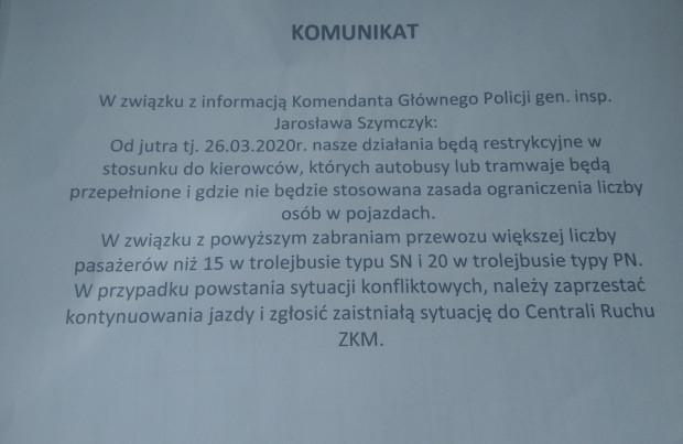 Komunikat kierownika Wydziału Ruchu Przedsiębiorstwa Komunikacji Trolejbusowej Sp. z o.o. w Gdyni do kierowców gdyńskich trolejbusów zapowiadający bardziej restrykcyjne kontrole napełnień w pojazdach.