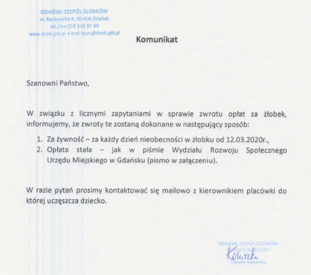 W Gdańsku w przypadku żłobków rodzice dostaną zwrot poniesionej opłaty za wyżywienie od 12.03.2020 roku.