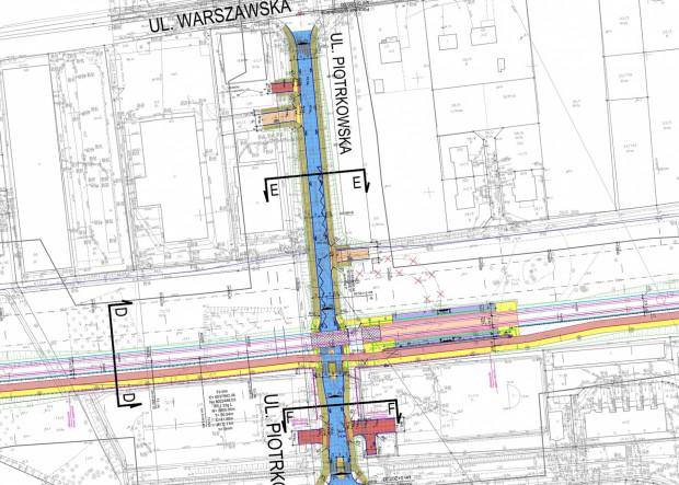 Docelowa organizacja ruchu na ul. Piotrkowskiej po budowie trasy tramwajowej Nowa Warszawska.