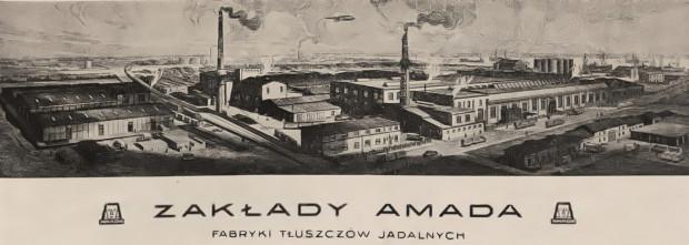Przedwojenna grafika, przedstawiająca fabrykę z lotu ptaka.