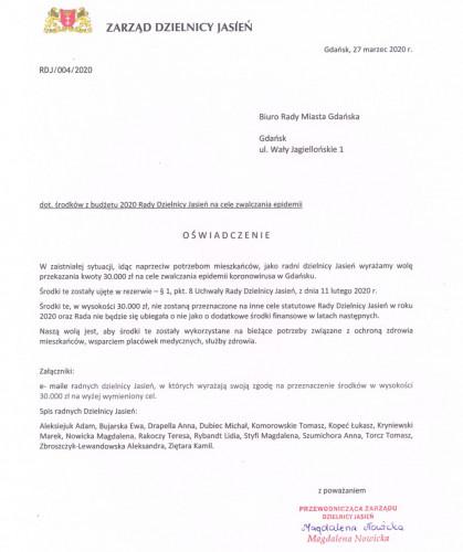 Rada Dzielnicy Jasień zdecydowała się wesprzeć miejski budżet w walce z koronawirusem.