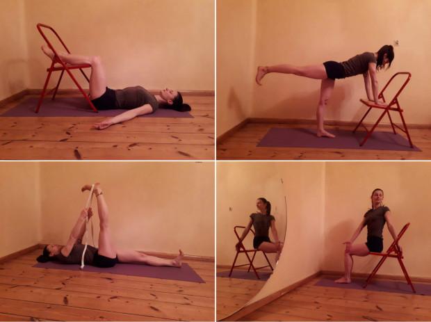 Najprostsze jogiczne asany można wykonać w domu z użyciem krzesła lub kanapy.