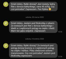 Pan Rybka informuje o tym, gdzie i kiedy jest, wysyłając SMS-y.