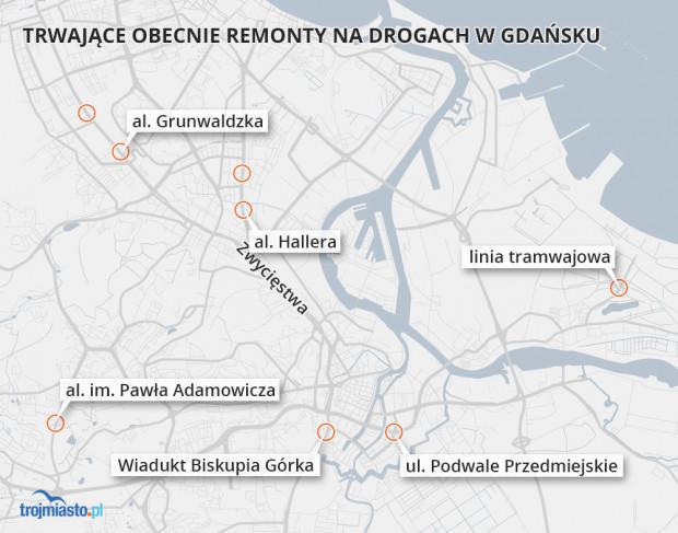 Wiosną powinny zakończyć się trwające od wielu miesięcy prace przy budowie al. im. Pawła Adamowicza, Podwalu Przedmiejskim czy linii tramwajowej na Stogi.
