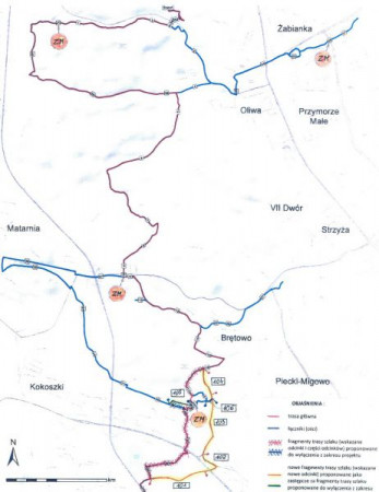 Poglądowa mapa głównego szlaku i pięciu łączników w granicach Gdańska.