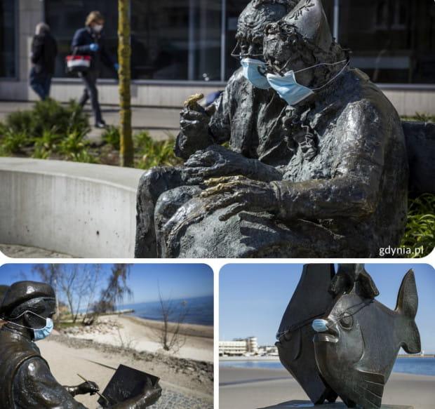 Gdyńskie pomniki noszą maseczki w ramach akcji zachęcającej do ich używania.