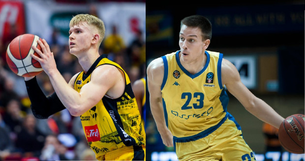Łukasz Kolenda (z lewej) i Grzegorz Kamiński (z prawej) to młodzi koszykarze, którzy najczęściej grali w zespołach odpowiednio: Trefla Sopot i Asseco Arki Gdynia w minionym sezonie.
