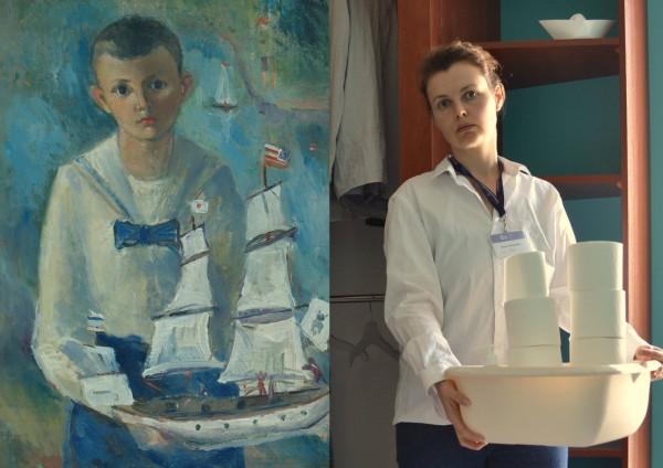 """Trzy interpretacje """"Chłopca z żaglowcem"""": Hania Borkowska z Działu Administracji."""