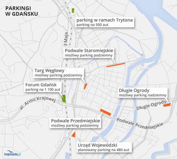 Istniejące i planowane parkingi w centrum Gdańska. Nawet jeśli nie powstaną planowane parkingi podziemne, które miasto chce wybudować w partnerstwie z firmą Immo Park, kierowcy wciąż będą dysponować 2 tys. miejsc na obrzeżach Śródmieścia.