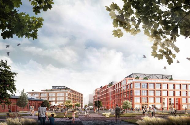 W pierwszym etapie zabudowy biurowej powstaną dwa budynki. Na wizualizacji po prawej stronie widać jeden, długi budynek (konstrukcja na dachu służy do przesłonięcia elementów technicznych), po lewej drugi budynek. Wysokość zabudowy jest stopniowana.