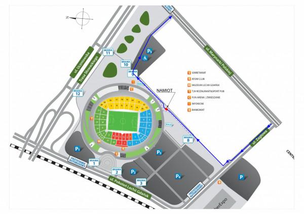 Do Centrum testowego COVID-19 drive-thru UCK przy Stadionie Energa Gdańsk najprościej dojechać, skręcając z ul. Marynarki Polskiej w ul. Żaglową, a następnie w prawo za Trzecim Urzędem Skarbowym.