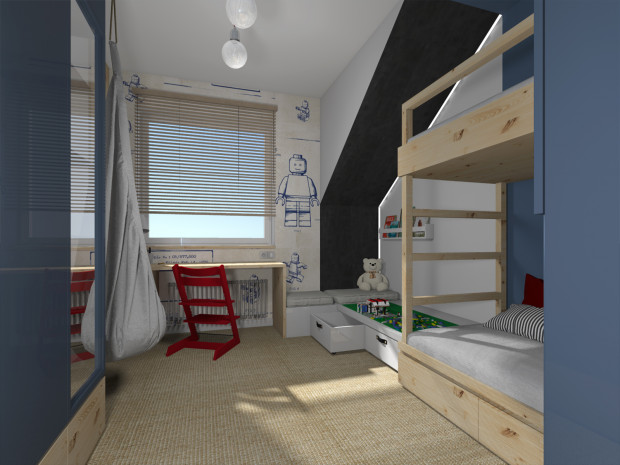 Koncepcja pierwsza. Pokój został podzielony na dwie kolorystyczne strefy - ciemniejsza znajduje się bliżej drzwi, jaśniejsza bliżej okna.