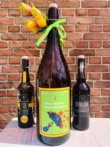 Brovarnia w maju uwadze poleca piwo wyjątkowo na czasie, bo... antywirusowe. Dodatkowo można zamówić piwo Złoto Brovarni lub Dymione Marcowe w butelkach 750 ml lub kegach 5 l.