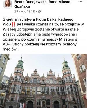 O sprawie poinformowała Beata Dunajewska, szefowa Klubu Wszystko dla Gdańska.