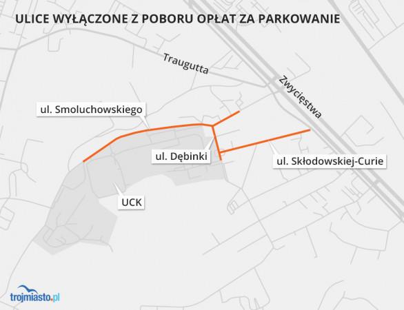 Ulice wyłączone z opłat za parkowanie przy UCK to ul. Smoluchowskiego, ul. Dębinki i ul. Skłodowskiej-Curie. Na pozostałych ulicach pobór opłat nadal obowiązuje.