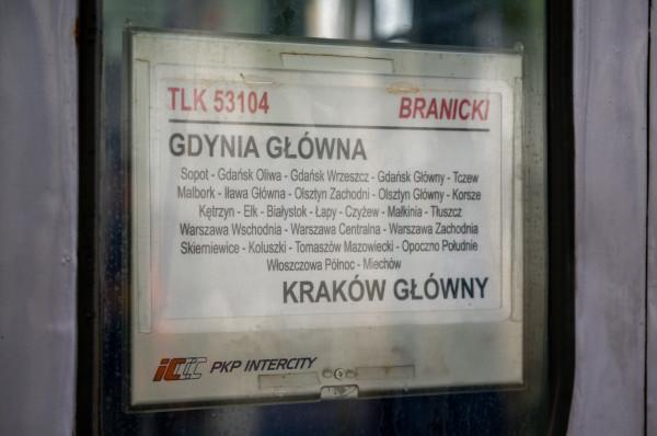 """Obecny przebieg trasy pociągu """"Branicki""""."""