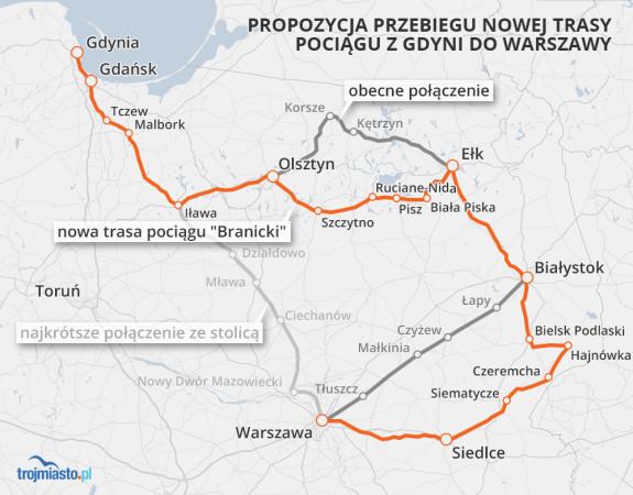 """Propozycja przebiegu nowej trasy pociągu """"Branicki"""" z Trójmiasta do Krakowa przez Warmię i Mazury, Podlasie i Warszawę."""