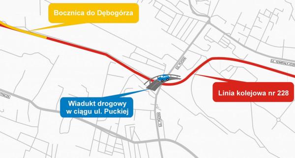 Powstanie wiadukt na linii kolejowej 228 w ciągu ul. Puckiej w Gdyni.